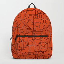 Greek Alphabet Capital Letters Red Black Backpack