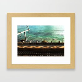 Train Tracks and Ocean Framed Art Print
