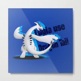 Lugia use Dragon Tail - blue vrs. Metal Print