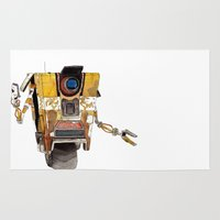 borderlands Area & Throw Rugs featuring Borderlands Claptrap Watercolour by DifficultyEasy
