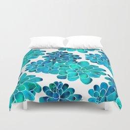 Turquoise succulents Duvet Cover