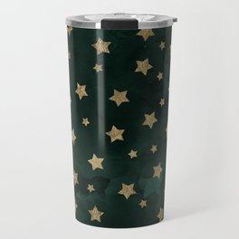 Modern gold christmas stars geometric pattern green watercolor Travel Mug