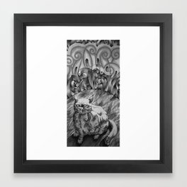 Fat Cat Fur Ball Framed Art Print
