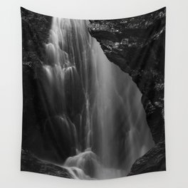 Black and white waterfall long exposure Wall Tapestry