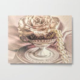Rose Pearls Teacup Still Life Modern Cottage Chic Decor Art Matted Picture A466 Metal Print