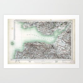 Vintage Map Bristol Channel England and Wales Art Print