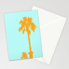 Orange palm trees silhouettes on blue Stationery Cards