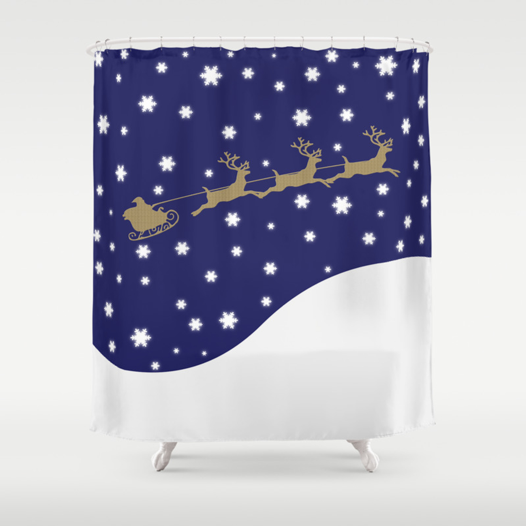 Blue and Snowman Shower Curtains   Society6