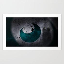 Man on Moon Art Print