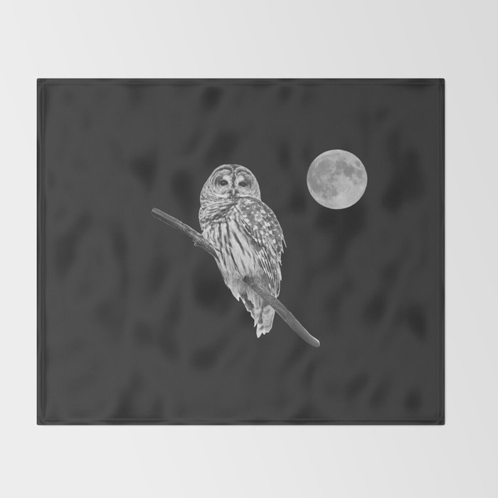 Owl, See the Moon (bw) Throw Blanket