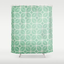 Shanghai - Hemlock / Mint / Jade Retro Geometric  Shower Curtain