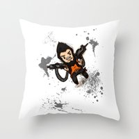 borderlands Throw Pillows featuring Borderlands 2 - Chibi Gunzy! by Emme Gray
