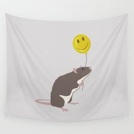 Rat with a Happy Face Balloon Wall Tapestry