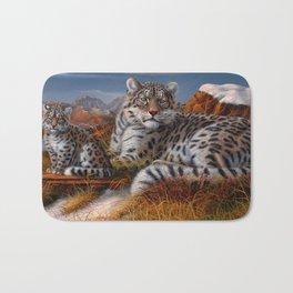 Leopard Mother And Cub In Pasture Ultra HD Bath Mat