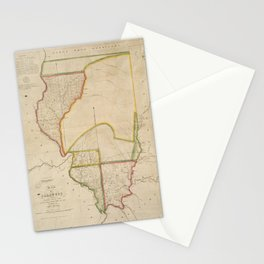 Vintage Map of Illinois (1818) Stationery Cards