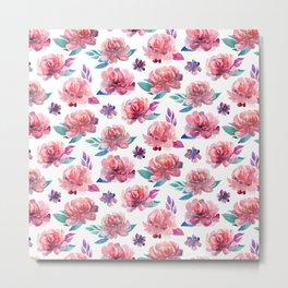 Pink flowers Floral pattern watercolor Botanical illustration Gift for mom Bedroom decor Metal Print