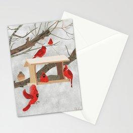 Cardinals at bird feeder Stationery Cards