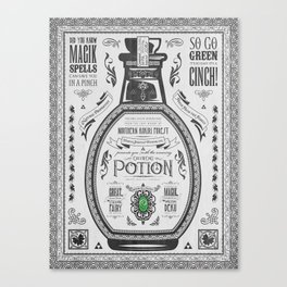 Legend of Zelda Green Chu Potion Advertisement Canvas Print