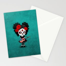 Day of the Dead Girl Playing American Flag Guitar Stationery Cards