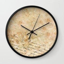 Elegant Script On Parchment Wall Clock