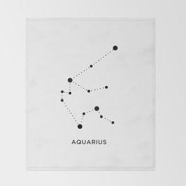 Minimal Zodiac, Aquarius Throw Blanket