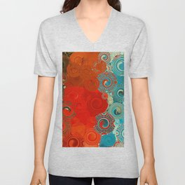 Turquoise and Red Swirls Unisex V-Neck