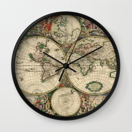 Vintage World Map print from 1689 Wall Clock