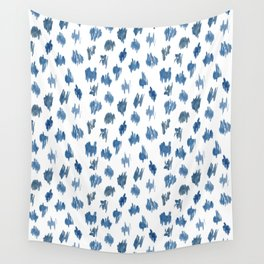 Brushstrokes of blue paint Wall Tapestry