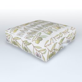 Olives and branches small Outdoor Floor Cushion