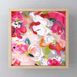 Dream flowers in pink rose floral abstract art Framed Mini Art Print