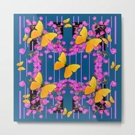Modern Art Pink Flowers Yellow Butterflies Teal Color Garden Metal Print