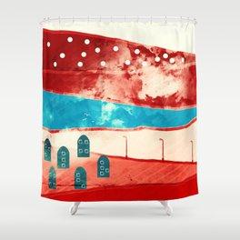 Red landscape Shower Curtain