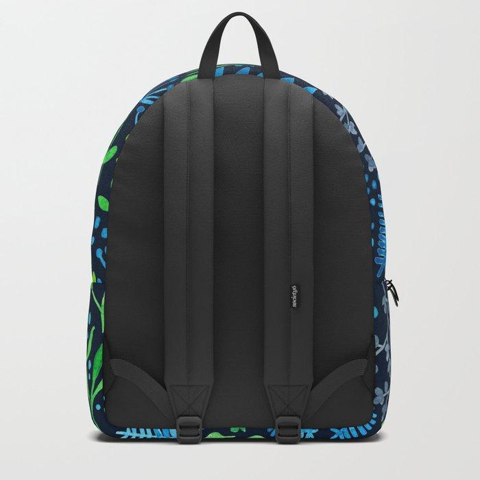 Watercolor floral doodles dark background Backpack
