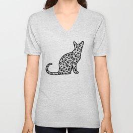 Snow Leopard-Print Cat Silhouette Unisex V-Neck