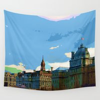 montreal Wall Tapestries featuring Old Montreal by LEEMARIE