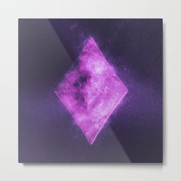 Diamond symbol. Playing card. Abstract night sky background Metal Print