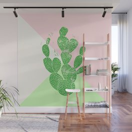 Linocut Cactus Tricolori Wall Mural