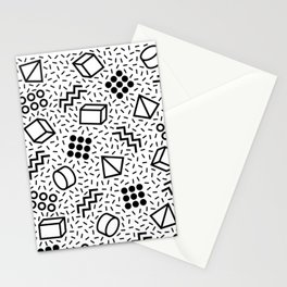 Abstract Memphis Style Pattern Black and White 2 Stationery Cards