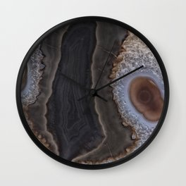 Chocolate colored Agate Crystals Wall Clock