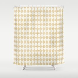 Chic Gold & Ivory Harlequin Pattern Shower Curtain