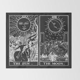 The Sun and Moon Tarot Cards | Obsidian & Pearl Throw Blanket