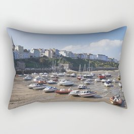 Boats in Tenby Harbour at low tide. Wales, UK. Rectangular Pillow