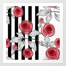 Red roses on black and white striped background. Art Print