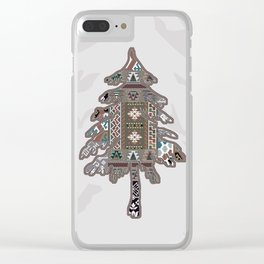 Christmas Patchwork Tree Clear iPhone Case