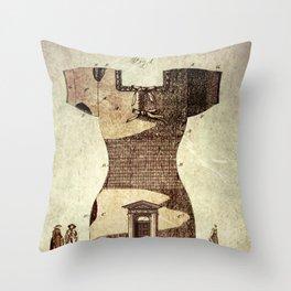 Steampunk Grunge Style Artwork Vintage Monument to Fashion Throw Pillow