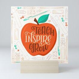 Teach Inspire Grow Apple Mini Art Print