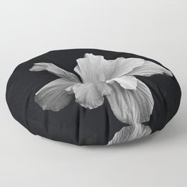 Hibiscus Drama Study - Black & White High Impact Photography Floor Pillow