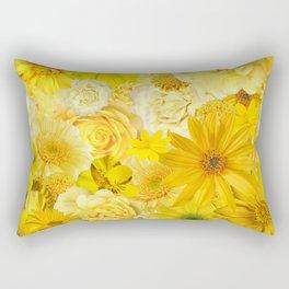Yellow Rose Bouquet with Gerbera Daisy Flowers Rectangular Pillow
