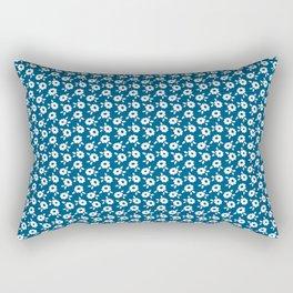 White flowers on indigo Rectangular Pillow