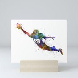 american football player man scoring touchdown silhouette Mini Art Print
